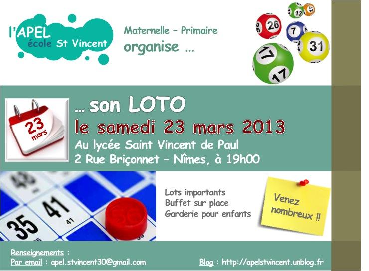 L apel organise son loto 2013 apel ecole saint for Loto dans 02
